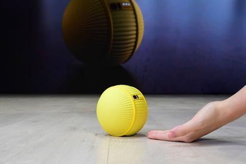 Ball, Yellow, Ball, Sports equipment, Floor, Flooring, Medicine ball, Sport venue, Soccer ball, Dodgeball,