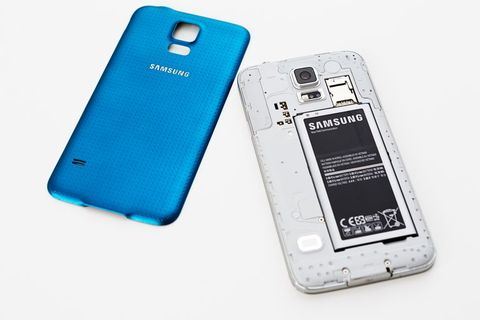 Samsung Galaxy S5 smartphone, back removed, showing battery, Sim card