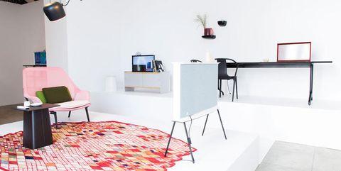 Room, Interior design, Floor, Wall, Lamp, Light fixture, Flooring, Interior design, Lampshade, Lighting accessory,