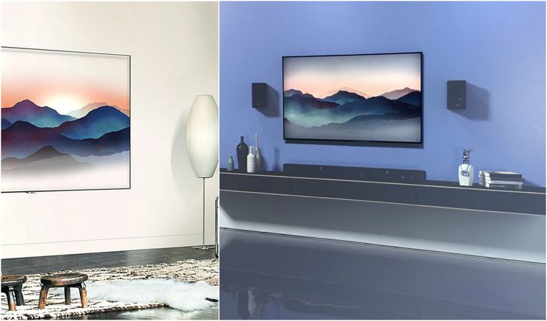 Samsung qled tv new model blends in with your wallpaper for Samsung smart tv living room