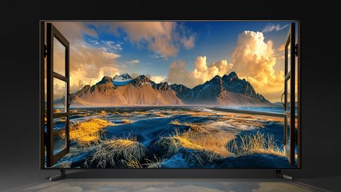 Sky, Nature, Natural landscape, Mountain, Lcd tv, Painting, Cloud, Landscape, Flat panel display, Display device,