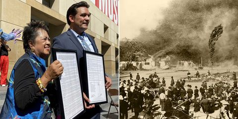 gerrye wong and san jose councilmember raul peralez hold the city's resolution apologizing for its treatment of chinese americans in front of the san jose art museum on wednesday september 29, 2021 in san jose, california