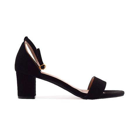 zwarte sandaal met hak en gouden gesp