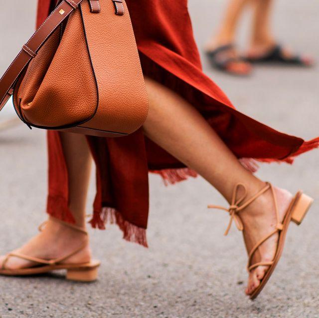Street fashion, Human leg, Footwear, Red, High heels, Leg, Ankle, Brown, Orange, Shoe,