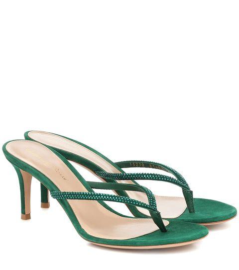 Footwear, Green, Slingback, Sandal, High heels, Shoe, Strap, Basic pump,