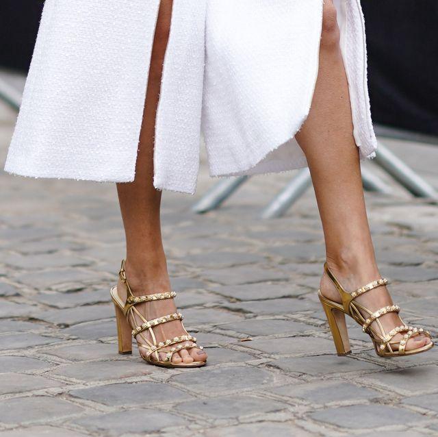White, Leg, Human leg, Street fashion, Footwear, Fashion, Ankle, Dress, High heels, Sandal,