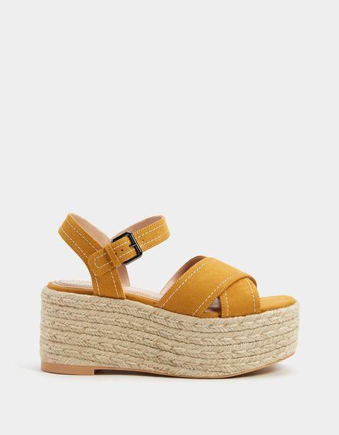 Footwear, Shoe, Tan, Sandal, Yellow, Beige, Wedge, Slingback, Espadrille,