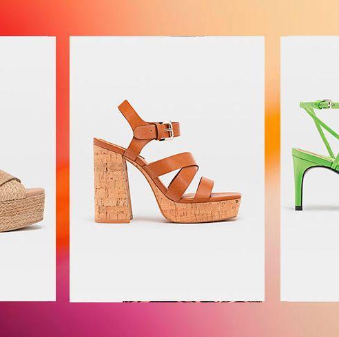 Footwear, High heels, Shoe, Orange, Sandal, Font, Brand, Peach,