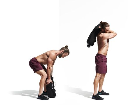Arm, Weights, Kettlebell, Standing, Muscle, Shoulder, Exercise equipment, Leg, Photography, Chest,
