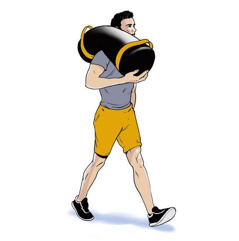 man carrying sandbag