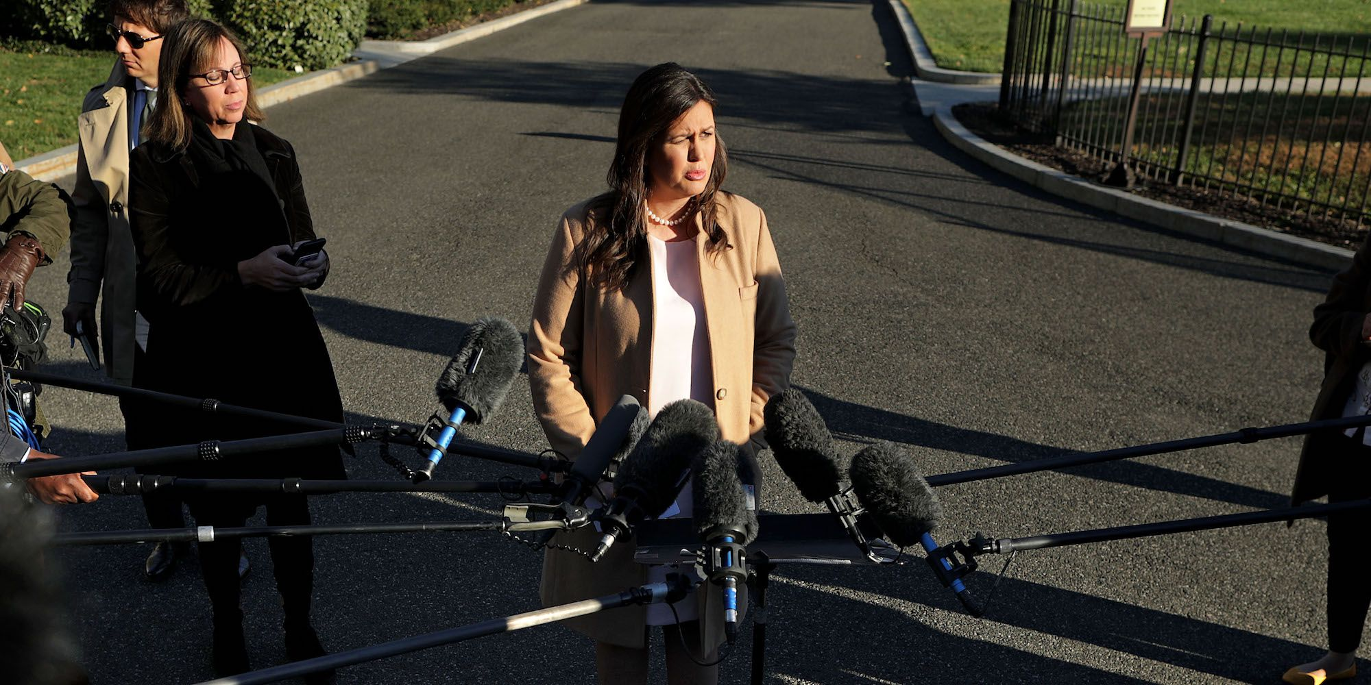Press Secretary Sarah Sanders Speaks To The Media Outside The White House