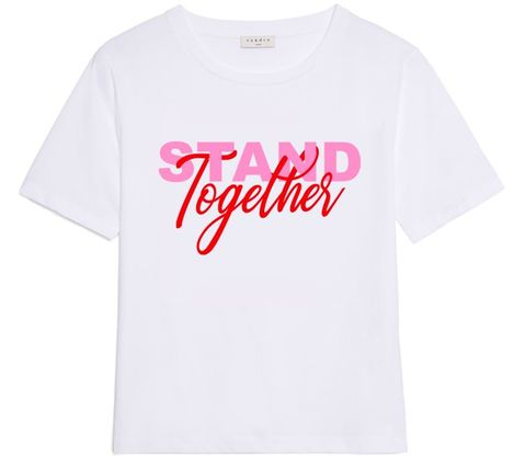 T-shirt, Clothing, White, Product, Pink, Text, Top, Sleeve, Font, Active shirt,