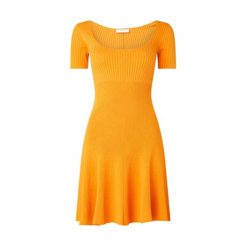 mini jurk met ribstructuur