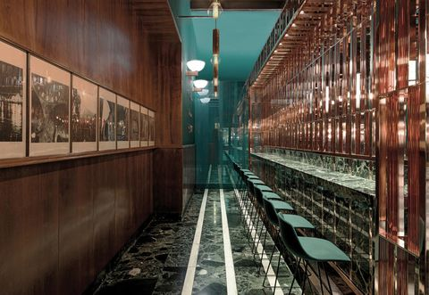 Glass, Ceiling, Teal, Turquoise, Iron, Symmetry, Transparent material, Aisle, Steel,