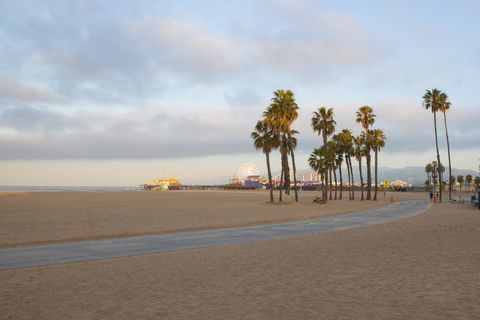 Santa Monica Beach With Santa Monica Pier