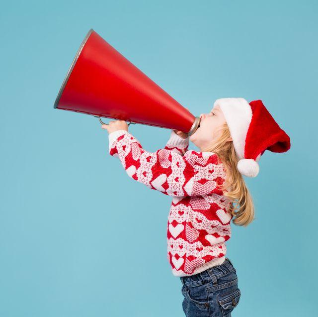Santa's Little Helper Making Announcement With Megaphone