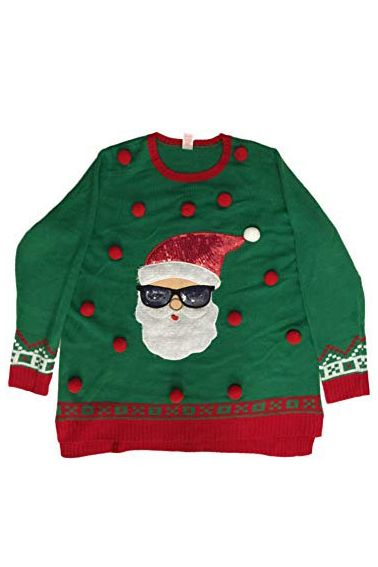 6818c43e8c9 Ugly Christmas Sweaters Womens Green Santa   Sequin Sunglasses Christmas  Sweater Ugly Holiday Pullover