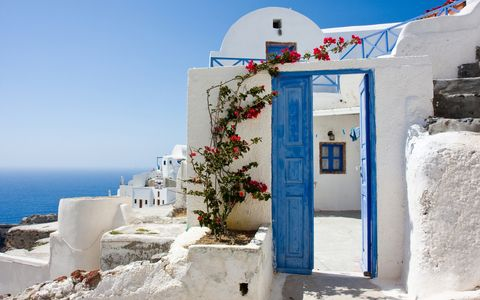 Blue, White, Azure, Sea, Vacation, Tourism, Building, House, Door, Coast,