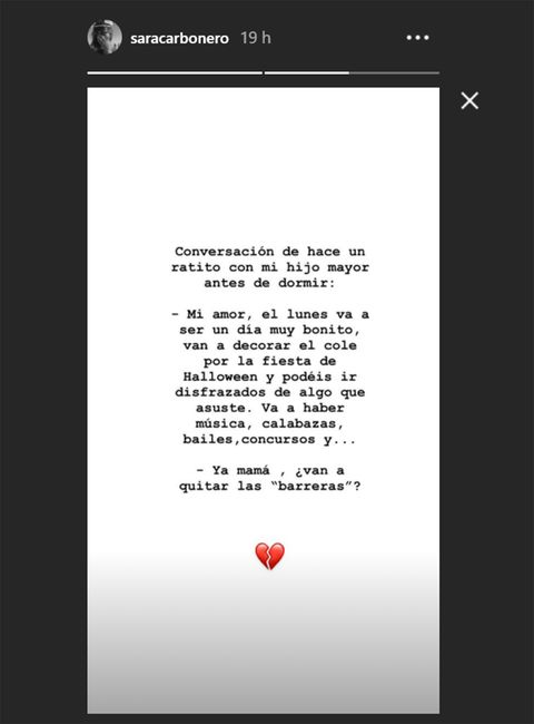 pantallazo del instagram de sara carbonero donde comparte la reflexión de su hijo