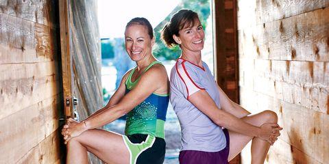 Sara Corbett and her friend Clare stretch together