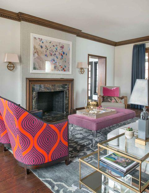 Property, Building, Interior design, Bedroom, Living room, Furniture, Pink, House, Table, Purple,