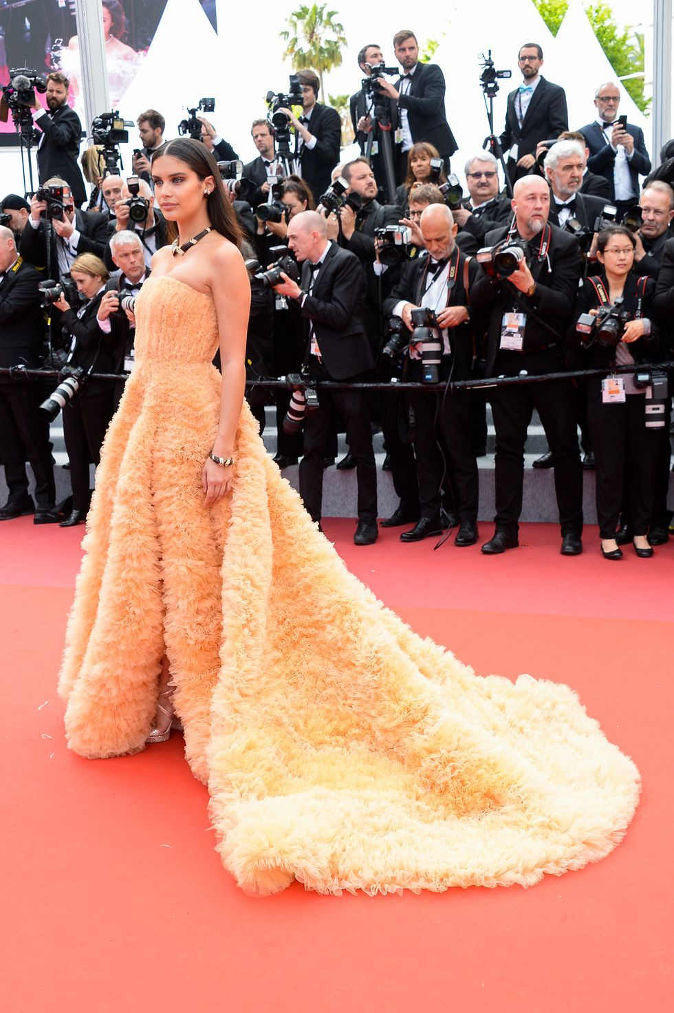 Sara Sampaio In Georges Hobeika Couture with Vintage Boucheron jewelry at the Once Upon a Time in Hollywood premiere on May 21, 2019.