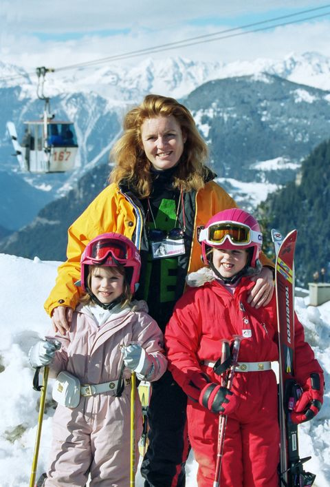 Sarah, Duchess of York, with Princess Beatrice, and Princess Eugenie, on a Skiing holiday in Verbier, Switzerland.