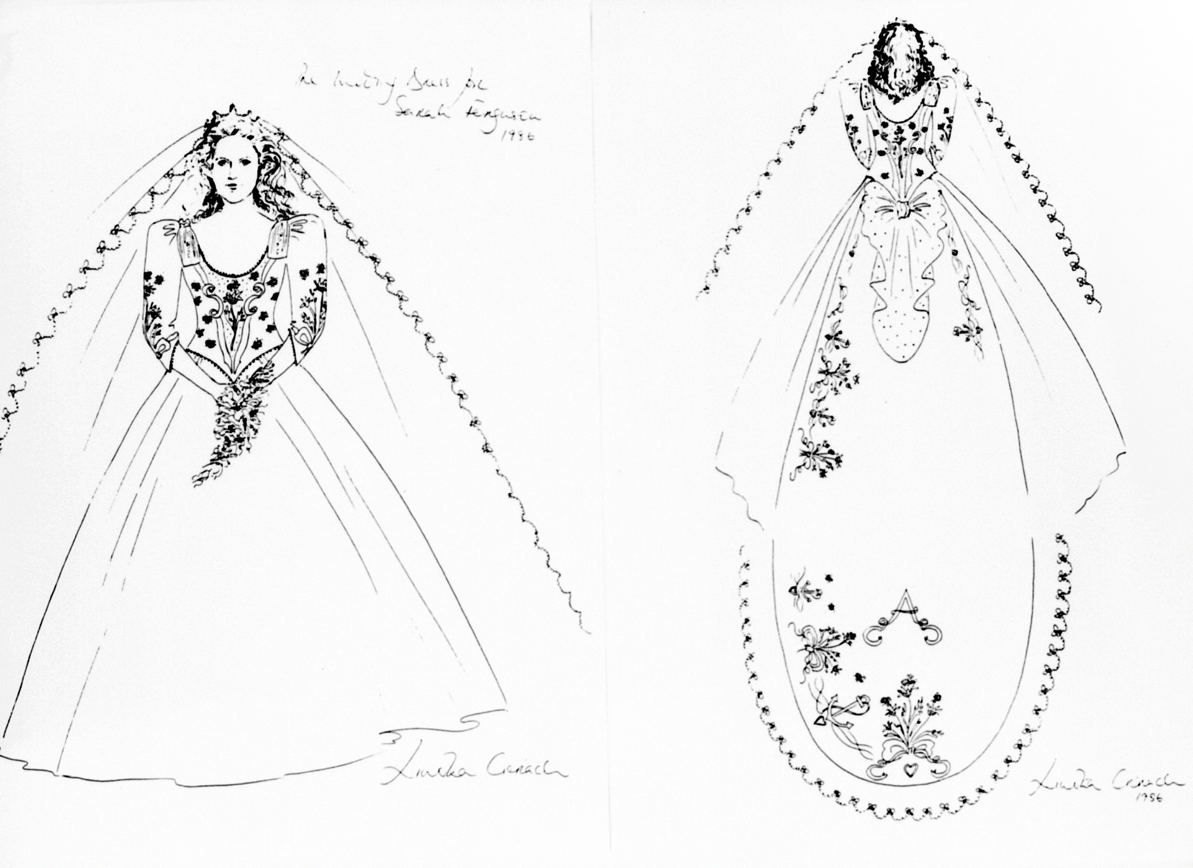 Sarah Ferguson Wedding Dress Sketch