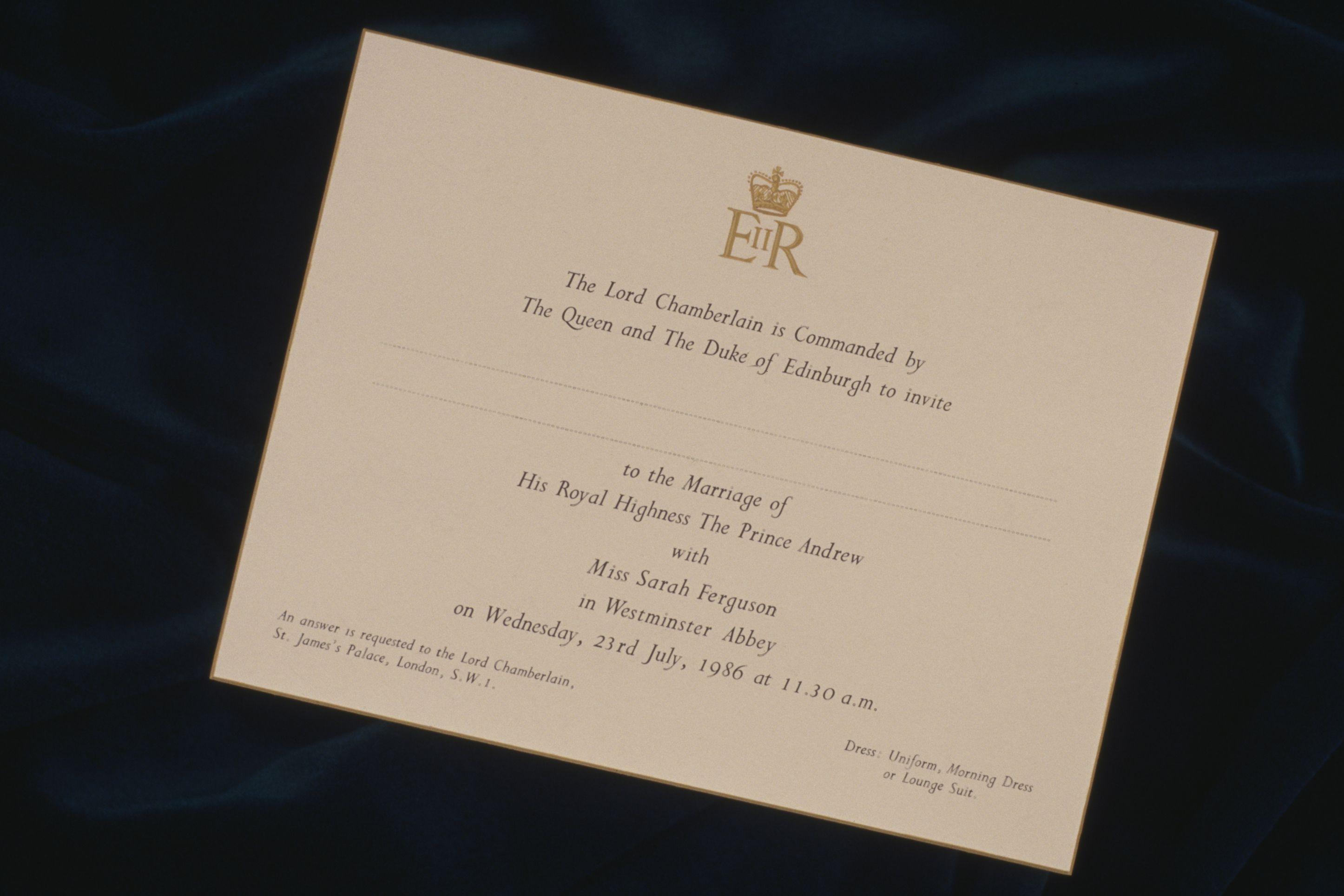 Sarah Ferguson and Prince Andrew Wedding invitation