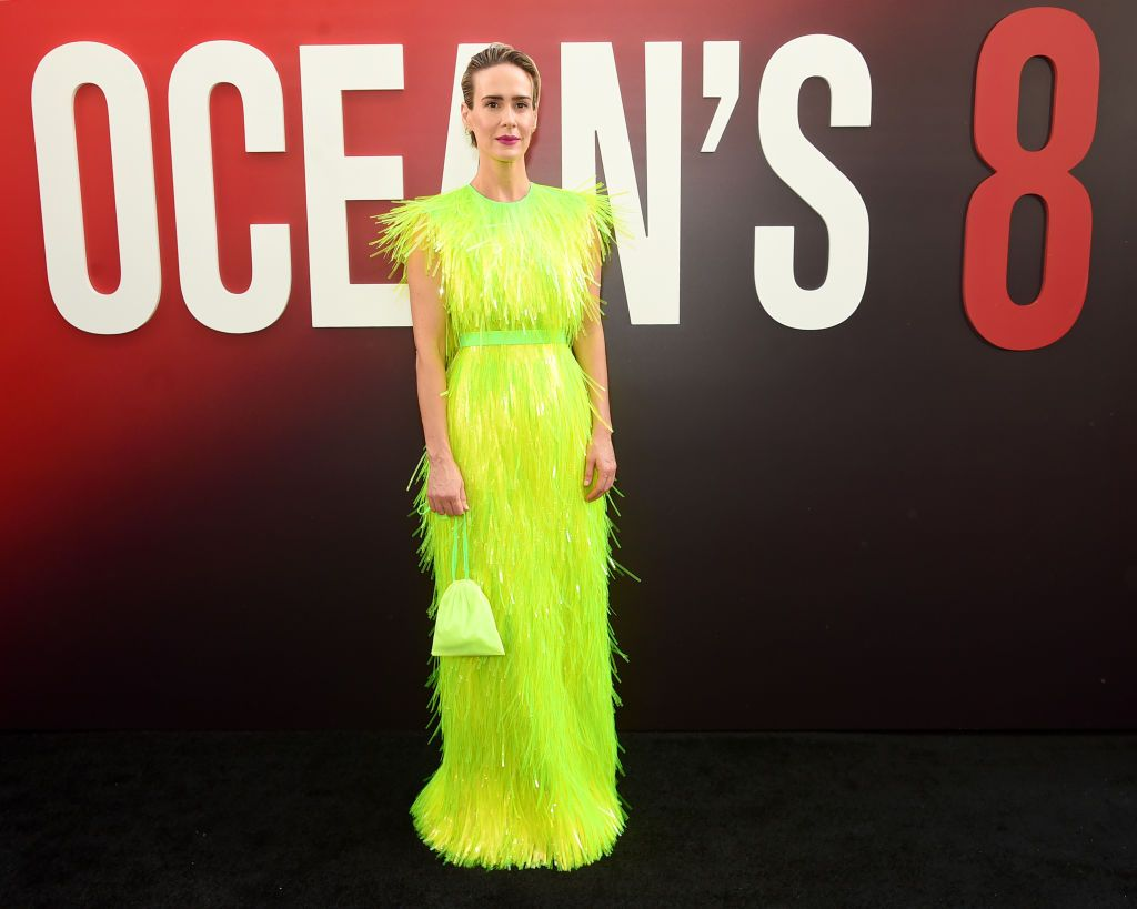 Always a statement-maker, Paulson in a chartreuse Prada gown with paillette details for the world premiere of Ocean's 8 was surely one of the most unforgettable red carpet moments of the year.