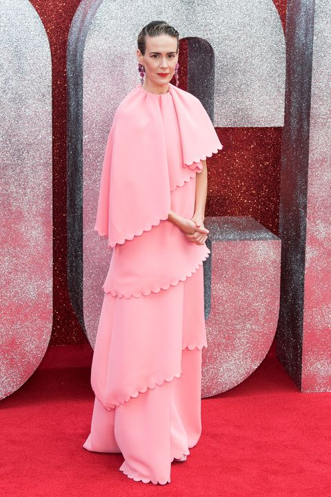Pink, Clothing, Red, Red carpet, Fashion, Dress, Carpet, Haute couture, Shoulder, Flooring,