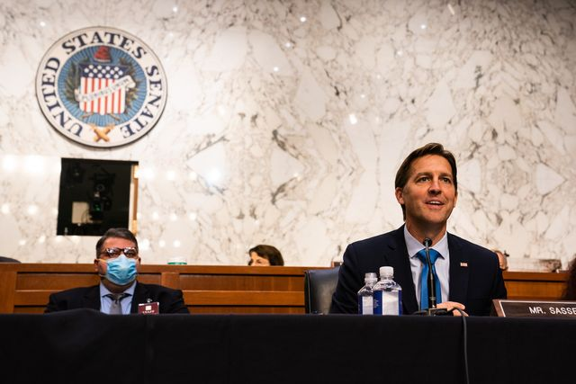 washington, dc   october 14 senator ben sasse r ne during the senate judiciary committee hearing of supreme court nominee amy coney barrett on october 14, 2020 in washington, dc with less than a month until the presidential election, president donald trump tapped amy coney barrett to be his third supreme court nominee in just four years if confirmed, barrett would replace the late associate justice ruth bader ginsburg photo by demetrius freeman   poolgetty images