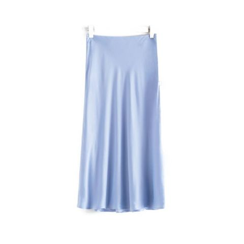 satin a line midi skirt