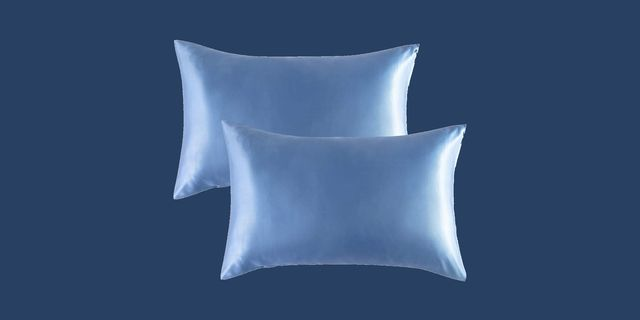 blue sating pillowcases with navy blue background