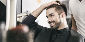 Satisfied customer at hairdresser