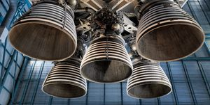Saturn 5 rocket engine and exhaust pipes