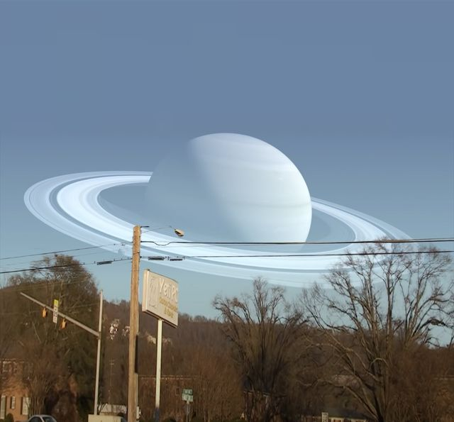 saturn pictured above street