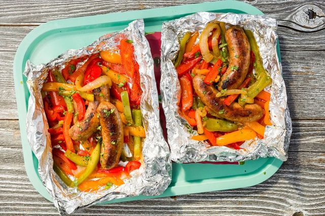sausage peppers foil pack