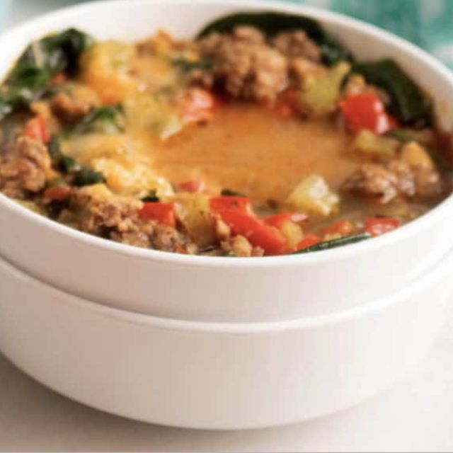 easy keto soup with sausage and peppers