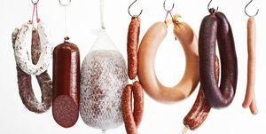 Sausages hanging on hooks