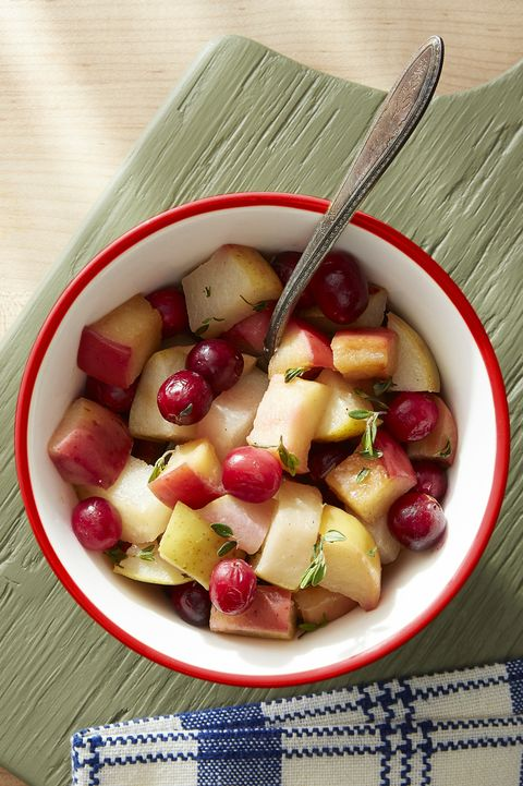 sauteed apples, pear, and cranberries