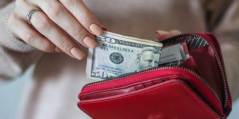 Cash, Money, Currency, Wallet, Coin purse, Zipper, Dollar, Money handling, Fashion accessory, Hand,