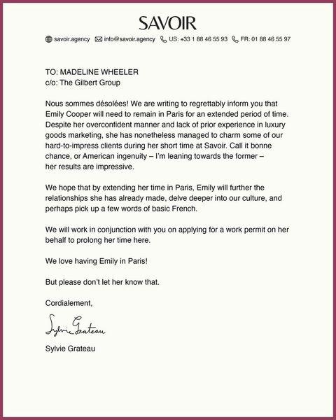 emily in paris renewal letter