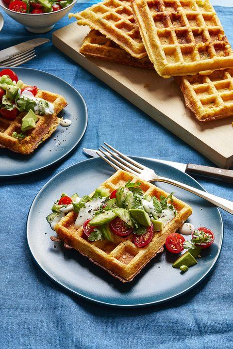 corn waffles with tomato herb salad