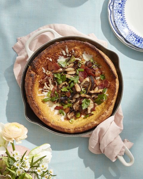 savory dutch baby with mushrooms and bacon