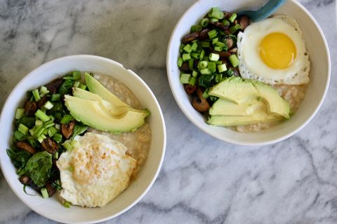 Oatmeal with eggs and avocado