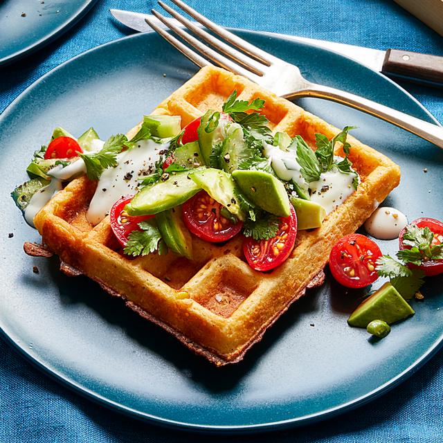 savory corn waffles with tomato herb salad recipe
