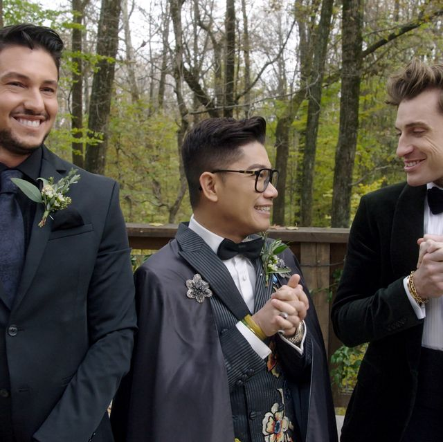 say i do l to r chef gabriele bertaccini, fashion designer thai nguyen and interior designer jeremiah brent in episode 8 of say i do cr netflix © 2020