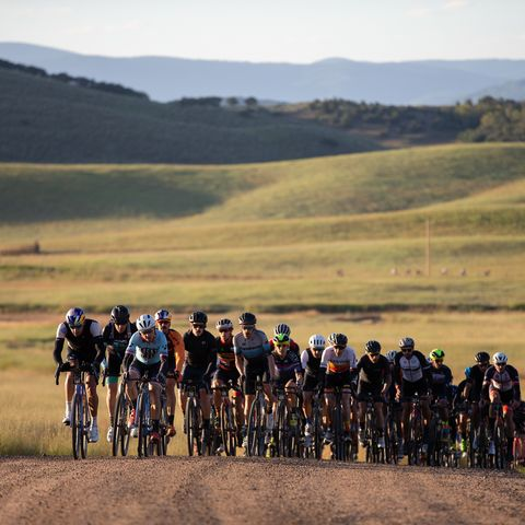 group of cyclists at the steamboat gravel race