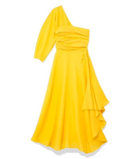 Yellow, Sleeve, One-piece garment, Dress, Amber, Orange, Day dress, Costume design, Fashion design, Costume,
